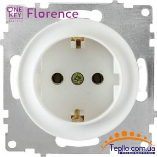 Розетка Florence c заземлением белая