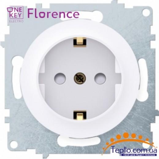 Розетка Florence c заземлением и шторками белая