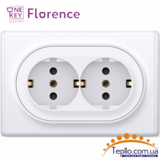 Двойная розетка Florence c заземлением белая