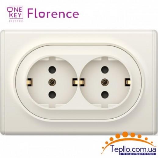Двойная розетка Florence c заземлением бежевая