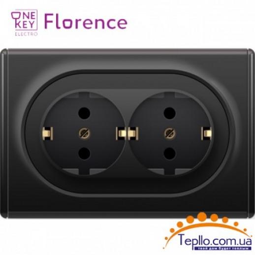 Двойная розетка Florence c заземлением черная