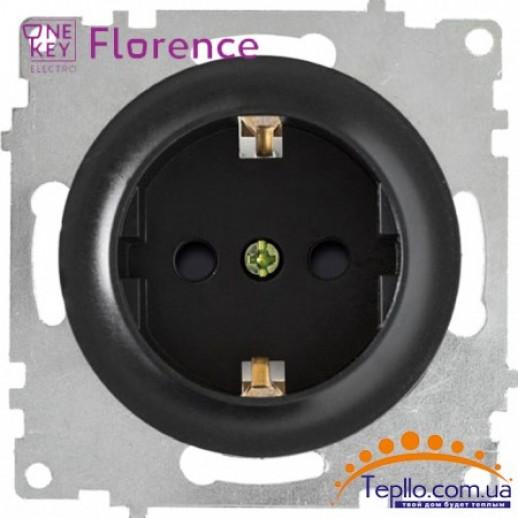 Розетка Florence c заземлением и шторками черная