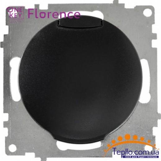 Розетка Florence c заземлением и крышкой черная