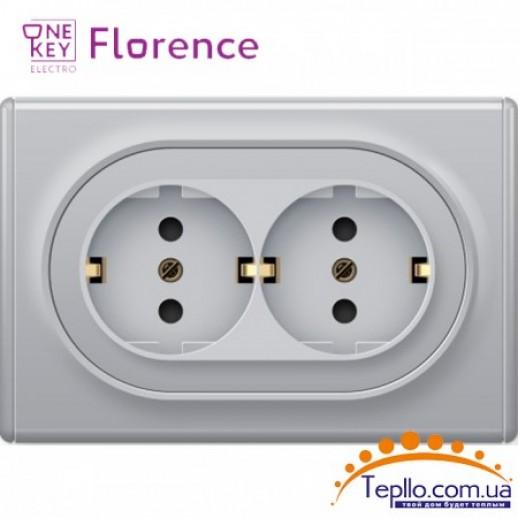Двойная розетка Florence c заземлением серая