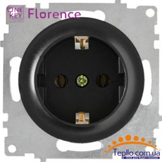 Розетка Florence c заземлением черная