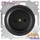 Розетка Florence без заземления черная