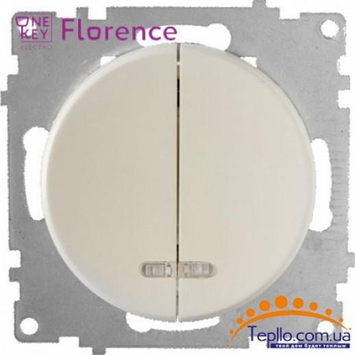 Выключатель двойной с подсветкой Florence бежевый