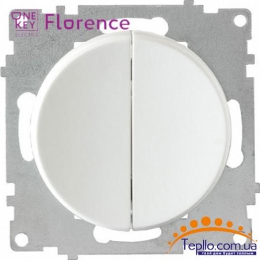 Выключатель двойной Florence белый