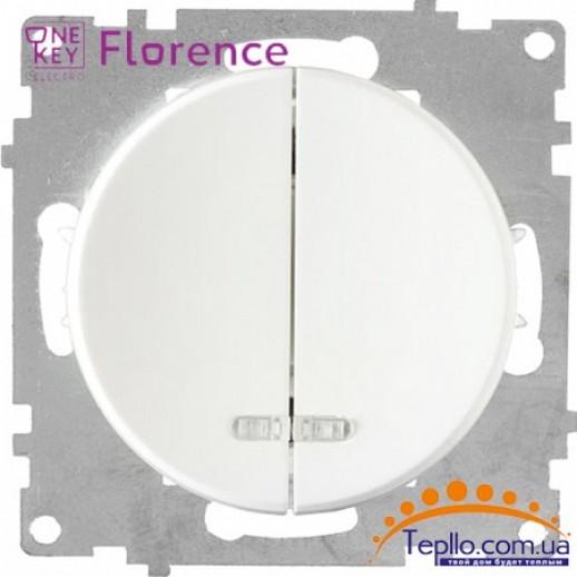 Выключатель двойной с подсветкой Florence белый