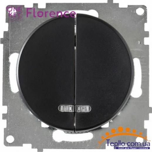 Выключатель двойной с подсветкой Florence черный