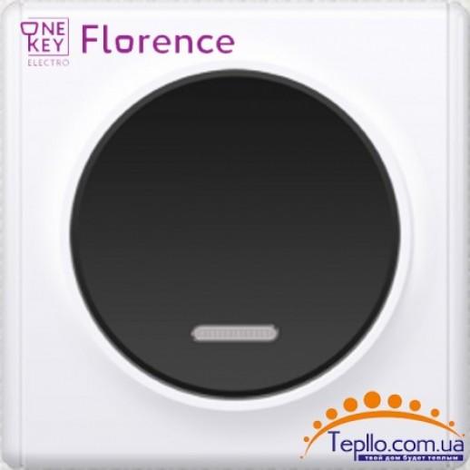 Выключатель одинарный с подсветкой Florence черный
