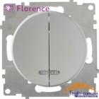 Выключатель двойной с подсветкой Florence серый