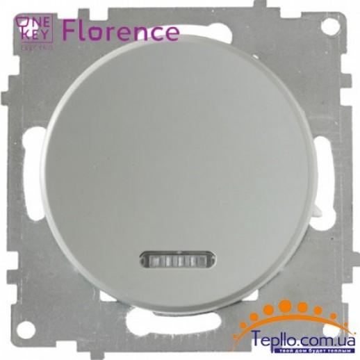 Выключатель одинарный с подсветкой Florence серый