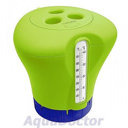 Плавающий дозатор с термометром для бассейна